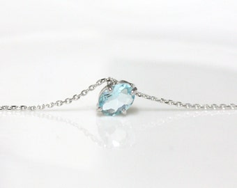 Birthstone necklace, Aquamarine necklace,rose gold plating, light blue pendant, March Birthstone, long necklace