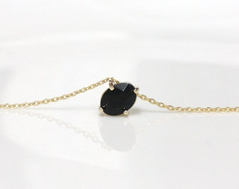 Black Onyx necklace, modern jewelry, black pendant