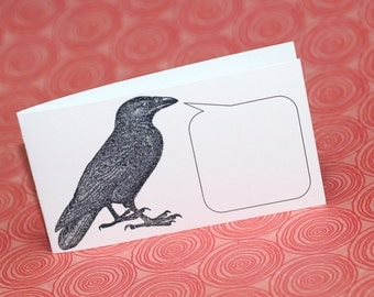 QUOTH the RAVEN ... Set of 5 Mini Notecards . Crow . Edgar Allen Poe . Black Bird . Captioned Critters . Quirky . Gift Cards . Folded Notes