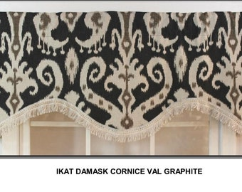 Ikat shaped graphite valance with linen trim