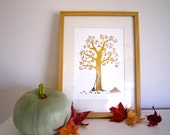 SALE: Autumn apple tree print. watercolour and collage nursery print for fall.
