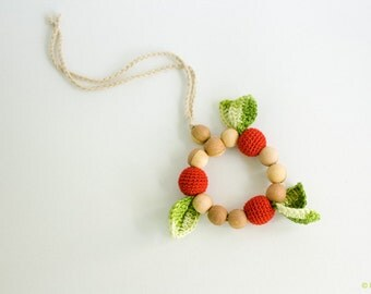 Sweet Cherry crochet teething ring - handmade baby teether, wooden teether - Teething Toy by FrejaToys