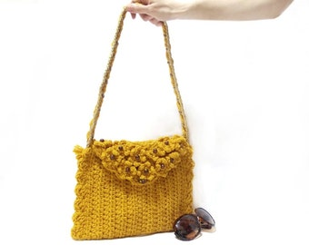 Crochet Bag, Handmade crochet handbag, Mustard crochet tote bag, Flowery handbag, Useful handbag, Pouch