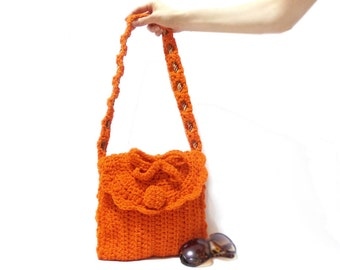 Crochet Bag, Orange, Crochet tote bag, Free Shipping, Crochet handbag, Tablet bag, Messenger, Midi handbag, Pouch, Stylish handbag