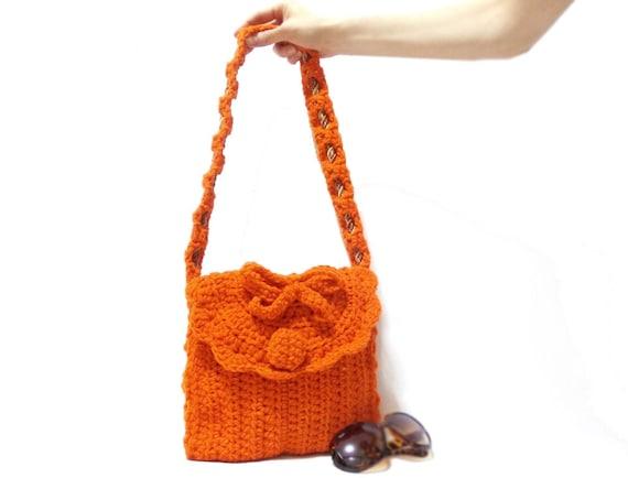 Crochet Bag, Orange, Crochet tote bag, Free Shipping, Crochet handbag ...