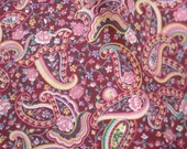 Vintage...Approx 7/8 yard... Whirling Paisleys on a Burgundy Ground...Sewing or Quilting Cotton Fabric.