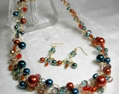 Crocheted Wire Necklace Set in Orange and Teal, handmade beaded wire crochet necklace