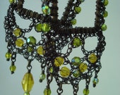 Crocheted Wire Square Hoop Earrings Victorian Inspired