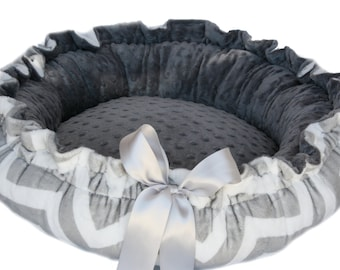 Chevron Gray and White Minky Couture Pet Bed- XL