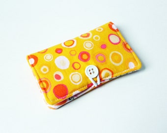 Yellow Elephants on Parade Dots Fabric Business Card Holder, with Pink Rose Garden - Credit Card Holder, Cloth Card Holder, Gift Card Holder