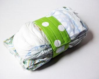 Lime Green Diaper Strap - Lime Green White Polka Dot