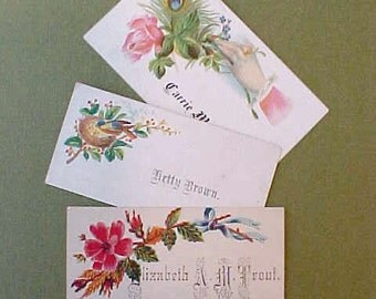 3 Charming Victorian Calling Cards, Each with Different Lady's Name