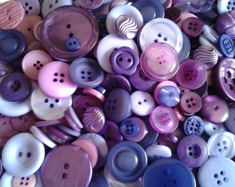 100 Small Purple Fusion Buttons - blackberry, grape, royal purple, bright purple, lilac, lavender-pink and more