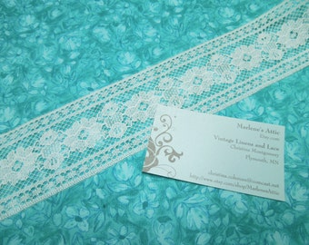 White lace, 1 yard of 2 1/4 inch White Chantilly Insertion Lace trim for bridal, baby, wedding, couture, lingerie by MarlenesAttic - Item R8