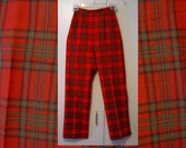 Vintage Plaid Wool Pants Red Tartan XS XXS 60s Highland Queen