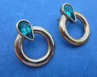 Beautiful Gold and Blue Teardrop Rhinestone Pierced Earrings.