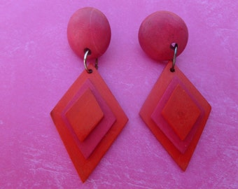Pink and Red Eighties Pierced Earrings.