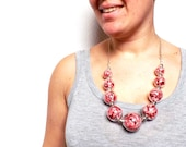 bubble necklace - necklace hollow glass beads red