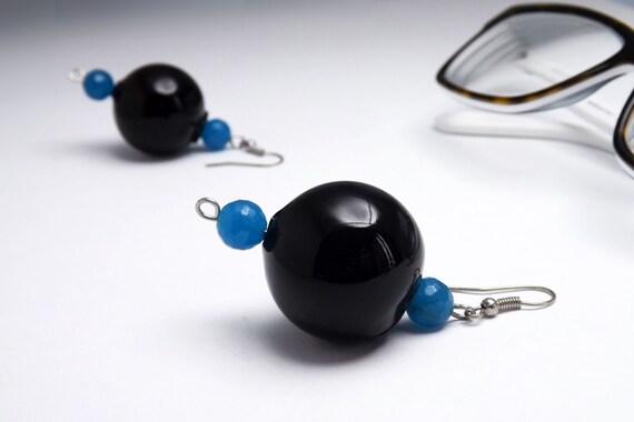 bubble earrings black - earrings hollow glass black