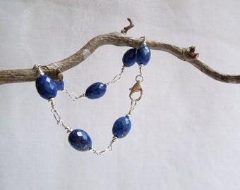 Night Sky Bracelet: AAA Lapis Lazuli, Sterling Silver, Midnight Blue Gemstones Bracelet,