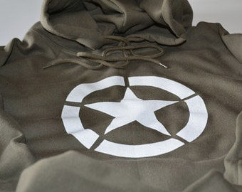 Allied star symbol WWII military allies hoodie World War 2 hooded sweatshirt World War Two sweater BLACK not od green which is 5 bucks more.