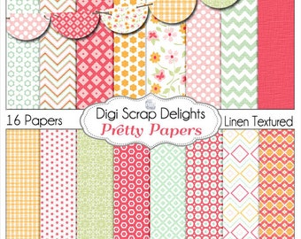 Pretty Papers Digital Scrapbooking Scrapbook Paper Linen Texture in Red, Orange, Pink, Green with Bunting, Instant Download
