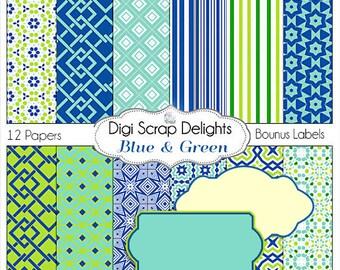 Blue Green Digital Scrapbook Paper in Blue Green and Aqua, Instant Download