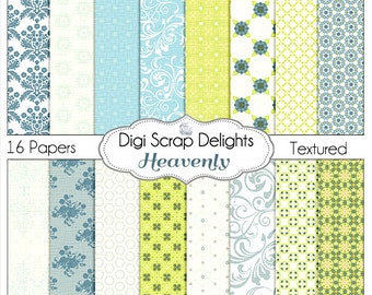 Heavenly Digital Scrapbook  Papers, Shabby Chic, Antique French, Instant Download