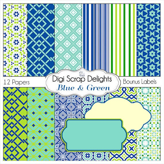 Blue Green Digital Scrapbook Paper in Blue Green and Aqua, Instant Download