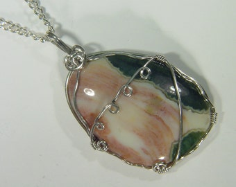 Ocean Jasper Sterling Silver wire wrapped pendant necklace jewelry FREE SP chain 3397D