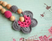 SALE  - Teething Necklace - Nursing pendant - butterfly