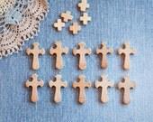 Set of 20 Natural Unfinished Wooden Cross Pendants - 20  pcs