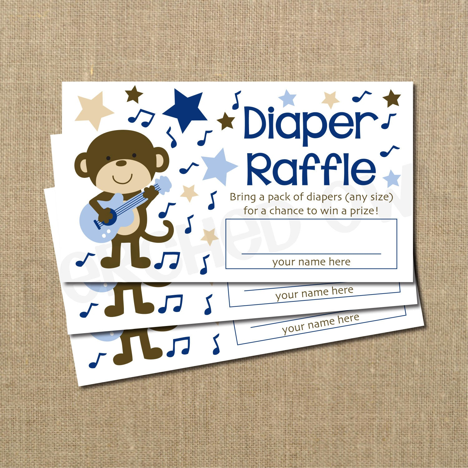 rockstar monkey baby shower diaper raffle ticket by perchedowl