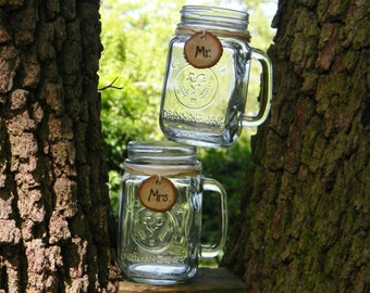 2 Rustic Personalized Mason Jar Mugs with Wooden Mr and Mrs Tags Rustic Wedding Decor