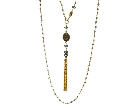 Deco. Indie Boho Gatsby Necklace. 1920's Flapper. LONG Druzy Tassel Necklace. 24k Gold Vermeil and Labradorite. NL-2213