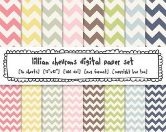 digital paper pastel chevrons, spring zig zag paper, pink green navy blue printable paper, instant download printable patterns - 452