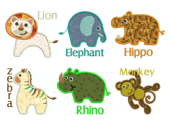 Baby animal applique set machine embroidery designs