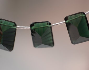 Forest Green Hydro Quartz Long Cushion Concave Cut