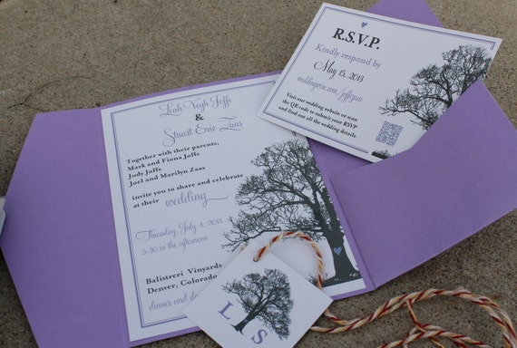 Tree Theme Wedding Invitation, RSVP card & Monogram design - DIY Printable - Lovely Little Party - You Choose Color