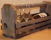 WINE TOTE Primitive Reclaimed Upcycled  Rustic Wood Country Caddy Unique Gift