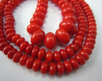 red coral graduated rondell bead 18 inch strand