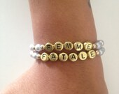 trending  beads bracelet with gold letterbeads. Blogger