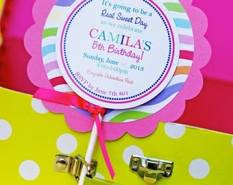 Custom Candy Party Lollipop Invitations