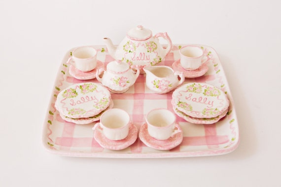 Child's Personalized, hand painted Princess Tea Set and Tray