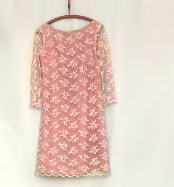 Antique pink Chantilly lace cocktail dress for your Valentine's Day