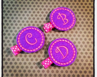 Purple and Hot Pink Initial Felt Hairclips...Personalized Hairbows...Monogrammed Hairclips...Baby/Infant Hairbows...Felties