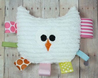 NEW Riley Blake The Sweetest Thing Rattle Teether, Tag Toy, Rattle, Plush Owl Baby Toy and Nursery Decor by JuteBaby