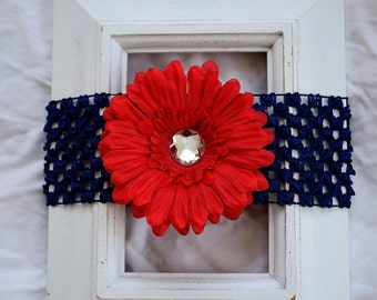 FREE SHIPPING in the U.S. - Navy Blue Elastic Headband with Removable Red Flower Clip Baby Toddler Kids Girls Child