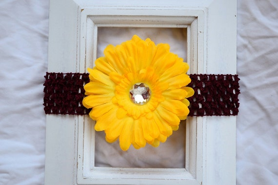 Burgundy and Gold Crochet Elastic Headband - Removable Yellow Gold Daisy Flower Hair Clip Accessory - Great Birthday or Baby Shower Gift!