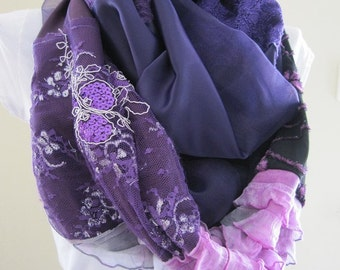 Sequin scarf/sparkle scarf/Purple scarf sequin -shimmery -lace- evening gown-patchwork-infinity scar - 015 woman fashion scarvesgift for her